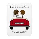 Brunette Bride and Groom in a Red Wedding Car Rectangular Photo Magnet