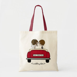 Brunette Bride and Groom in a Red Wedding Car Tote Bag