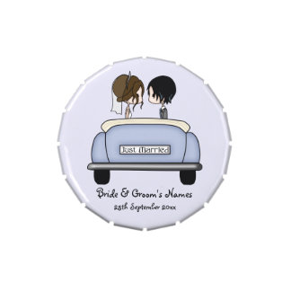 Brunette Bride & Black Haired Groom in Wedding Car Candy Tins