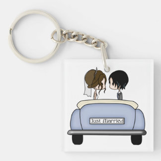 Brunette Bride & Black Haired Groom Acrylic Key Chains