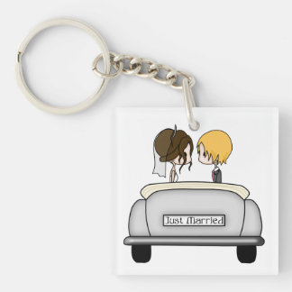 Brunette Bride & Blonde Groom in Grey Car Square Acrylic Key Chains