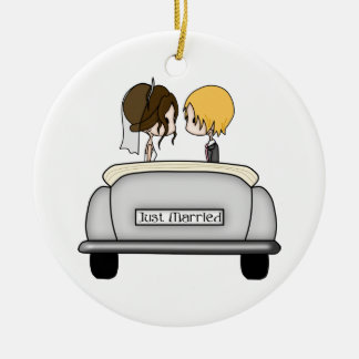 Brunette Bride & Blonde Groom in Grey Car Double-Sided Ceramic Round Christmas Ornament