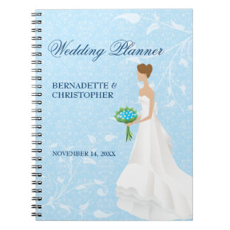 Brunette Bride Blue Wedding Planner Note Books