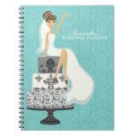 Brunette Bride on Wedding Cake {aqua} Spiral Note Books