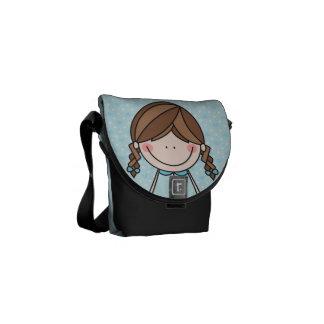 Brunette Cartoon Girl with Braids Messenger Bag