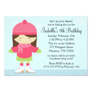 Brunette Caucasion Ice Skating Birthday Party Card
