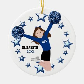 Brunette Cheerleader Pom Poms In Blue & Black Ceramic Ornament