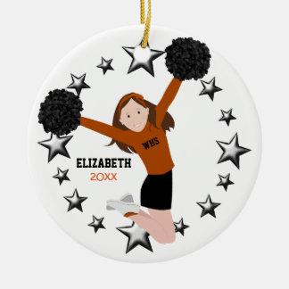 Brunette Cheerleader Pom Poms In Orange & Black Ceramic Ornament