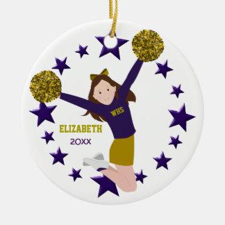 Brunette Cheerleader Pom Poms In Purple & Gold Ceramic Ornament