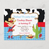 Brunette Cowboy Western Birthday Party Invitation Postcard