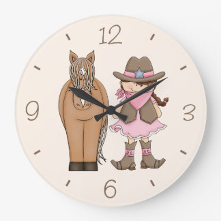 Brunette Cowgirl and Horse Wall Clock