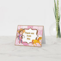 Brunette Cowgirl Thank You Note Card