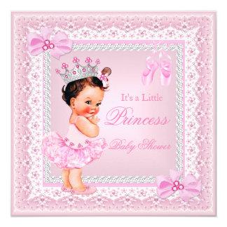 """Brunette de la bailarina del rosa del chica de la invitación 5.25"""" x 5.25"""""""