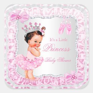 Brunette de la bailarina del rosa del chica de la pegatina cuadrada
