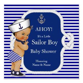 """Brunette de la raya de azules marinos del muchacho invitación 5.25"""" x 5.25"""""""