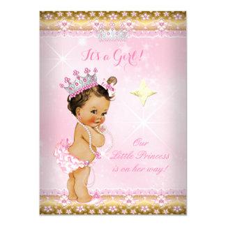"""Brunette de la tiara del cordón del oro del rosa invitación 4.5"""" x 6.25"""""""