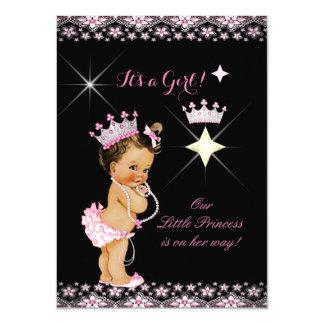 """Brunette de la tiara del negro del rosa de la invitación 4.5"""" x 6.25"""""""