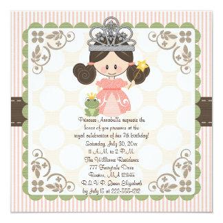 Brunette de princesa Birthday Photo Invitations Invitación 13,3 Cm X 13,3cm
