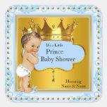 Brunette de príncipe Boy Blue Gold Crown de la Pegatina Cuadrada