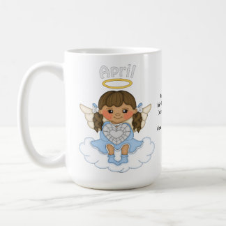 Brunette del ángel de abril Birthstone Taza Clásica