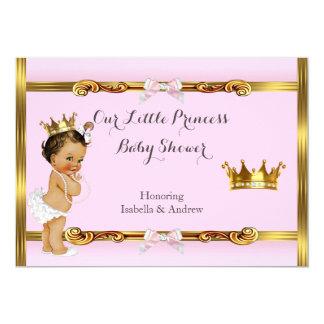 """Brunette del chica del oro del rosa de la princesa invitación 5"""" x 7"""""""