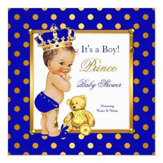 """Brunette del oro del azul real del muchacho del invitación 5.25"""" x 5.25"""""""