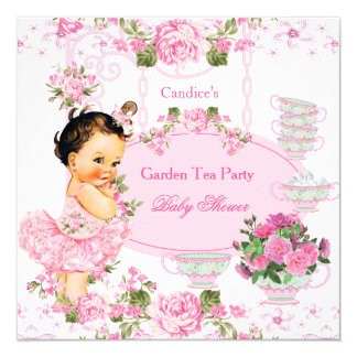 """Brunette del rosa del cordón de la fiesta del té invitación 5.25"""" x 5.25"""""""