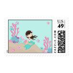 Brunette del sello de little mermaid