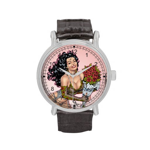 Brunette en ropa interior con el ejemplo de los relojes de pulsera