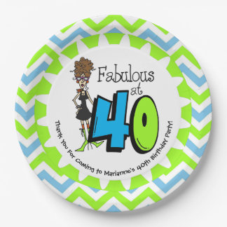Brunette Fabulous at 40 40th Birthday Paper Plates 9 Inch Paper Plate