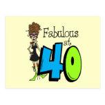 Brunette Fabulous at 40 Birthday Post Card