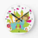 Brunette Fairy Princess Round Clock