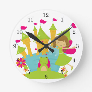 Brunette Fairy Princess Round Clock