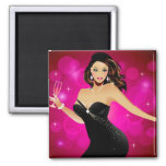 Brunette Fashion Model and Wine 2 Inch Square Magnet