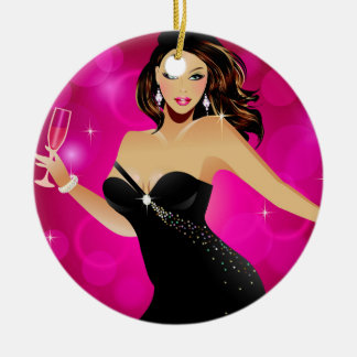 Brunette Fashion Model and Wine Double-Sided Ceramic Round Christmas Ornament