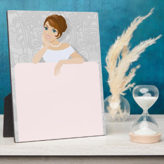 Brunette Fashion model sign in white dress Plaque