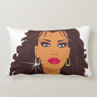 Brunette Fashion Model with blue eyes and red lips Lumbar Pillow