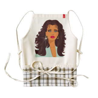Brunette Fashion Model with blue eyes and red lips Zazzle HEART Apron