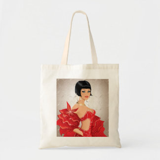 Brunette fashion model with red disco dress budget tote bag