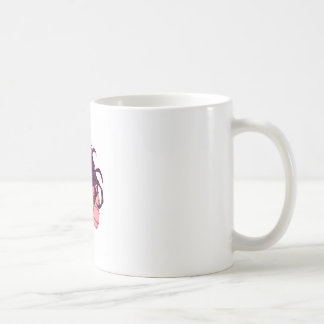brunette female skull coffee mug