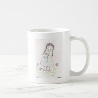 Brunette Flower Girl Coffee Mugs