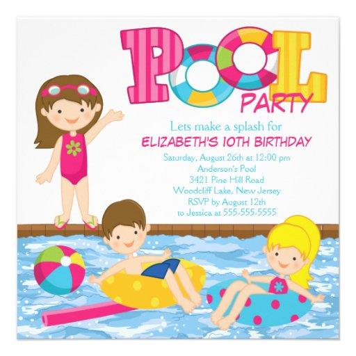 Brunette Girl Birthday Pool Party Invitation