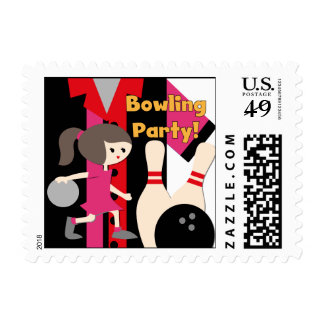 Brunette Girl Bowling Party Postage Stamps