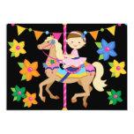 Brunette Girl Carousel Birthday 5x7 Invitation