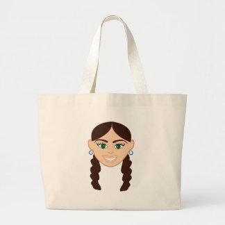 Brunette Girl Face Jumbo Tote Bag