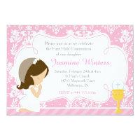 Brunette Girl First Communion Damask Card