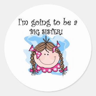 Brunette Girl Future Big Sister Classic Round Sticker