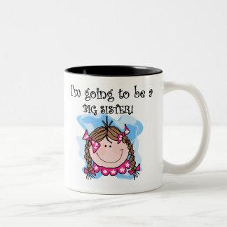 Brunette Girl Future Big Sister Coffee Mugs