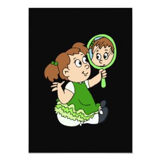 Brunette girl green dress card