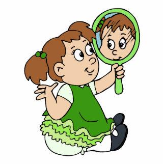 Brunette girl green dress acrylic cut outs